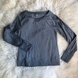 Mondetta Gray Fleeced Long Sleeve Thumbhole Top L